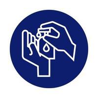 mani che si lavano con l'icona di stile blocco bottiglia di sapone antibatterico