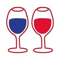 icona di stile di tiraggio della mano di tazze di vino