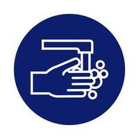 mani che lavano con l'icona di stile del blocco del rubinetto
