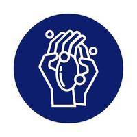 mani che si lavano con l'icona di stile del blocco di sapone