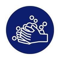 mani che si lavano con l'icona di stile del blocco di schiuma