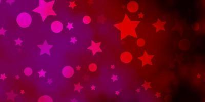 sfondo vettoriale viola scuro, rosa con cerchi, stelle.