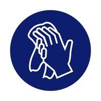 mani che si lavano con l'icona di stile blocco asciugamano