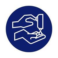 lavarsi le mani con l'icona di stile blocco distributore di sapone
