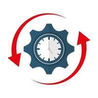 orologio isolato e disegno vettoriale di ingranaggi