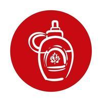 barattolo di bottiglia con stile blocco canadese foglia d'acero vettore