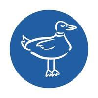icona di stile blocco uccello anatra vettore
