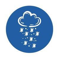 nuvola con icona di stile blocco fiocchi di neve vettore
