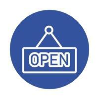 stile blocco appeso etichetta negozio aperto