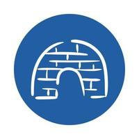 icona di stile blocco di ghiaccio igloo vettore