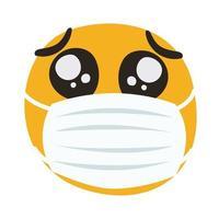 emoji che indossa la maschera medica mano disegnare stile