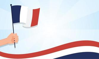 mano che tiene la bandiera della Francia per il disegno vettoriale felice giorno della bastiglia