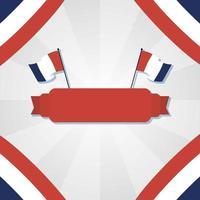 bandiere della Francia e nastro per il disegno vettoriale felice giorno della bastiglia