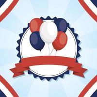 Francia palloncini all'interno del timbro per il disegno vettoriale felice giorno della bastiglia