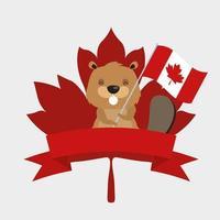 castoro canadese con bandiera e nastro per il disegno vettoriale felice giorno del canada