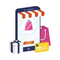 ecommerce online con smartphone e carta di credito