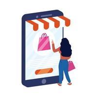 ecommerce online con smartphone e donna con borsa della spesa
