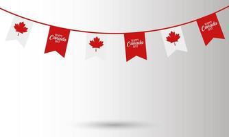 stendardo bandiera canadese per il disegno vettoriale felice giorno del canada