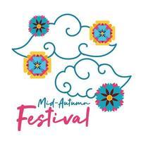 carta di festival di metà autunno con icona di stile piatto nuvole e fiori