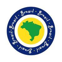 Amo il timbro del sigillo del Brasile con l'icona di stile piatto della mappa
