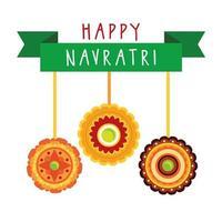 felice celebrazione navratri con decorazioni appese in stile piatto