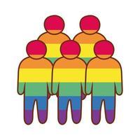 Figure della comunità lgbtiq con i colori del gay pride