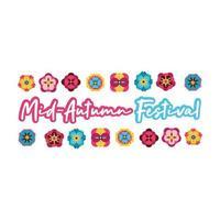 carta festival di metà autunno con icona di stile piatto scritte e fiori