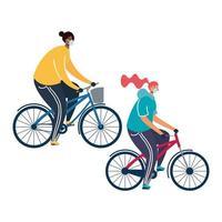 giovane coppia che indossa maschere mediche sulle biciclette vettore