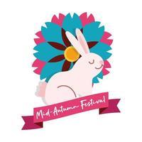 carta festival di metà autunno con icona di stile piatto coniglio e fiore