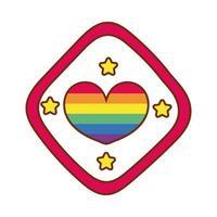 cuore con strisce di gay pride nel segnale stradale