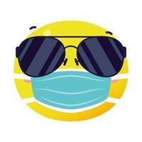 faccia emoji che indossa l'icona di stile piatto maschera medica