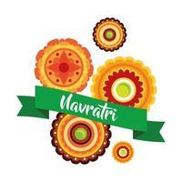felice celebrazione navratri con lacci decorativi in stile piatto