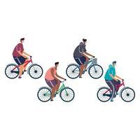 giovani uomini che indossano maschere mediche in bicicletta vettore