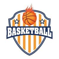 cresta del torneo di basket con pallacanestro in fiamme