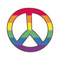 simbolo di pace con i colori del gay pride vettore