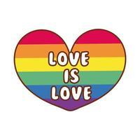 La bandiera della comunità lgbtiq nel cuore con amore è scritta d'amore