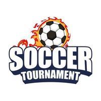 icona del torneo di calcio con palla in fiamme
