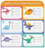 set di parole di ortografia foglio di lavoro pratica di scrittura a mano di dinosauro vettore