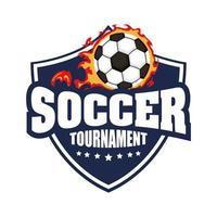 icona di calcio con scudo e palla in fiamme