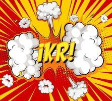 Testo ikr su esplosione di nuvole comiche su sfondo di raggi
