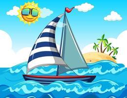 scena del mare con una barca a vela vettore