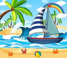 scena della spiaggia con una barca a vela vettore
