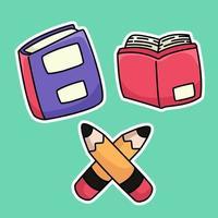 materiale scolastico felice torna a scuola studio disegno illustrazione vettore
