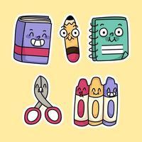 carino torna a scuola materiali matita, libro, disegno a colori dei cartoni animati vettore