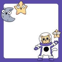 gatto che indossa tuta spaziale con stelle e luna simpatico cartone animato illustrazione vettore