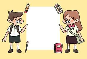bambini felici torna a scuola studio disegno illustrazione vettore