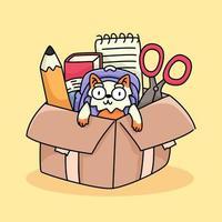 gatto gattino felice torna a scuola studio disegno illustrazione vettore