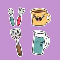 utensili tazza, cucchiaio, forchetta, spatola e brocca illustrazione di adesivo carino cucina cartone animato vettore