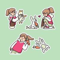 kid coniglio e carota simpatico cartone animato illustrazione vettore