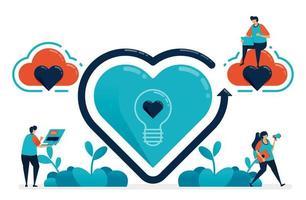 simbolo di idee in amore e San Valentino. alla ricerca di ispirazione nel romanticismo e nel romanticismo. su e giù nel rapporto matrimoniale. illustrazione di proposta di matrimonio del sito Web, banner, poster, invito, carta vettore